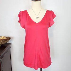 Ann Taylor Flutter Sleeve V-Neck Pink Top NWT, XXS